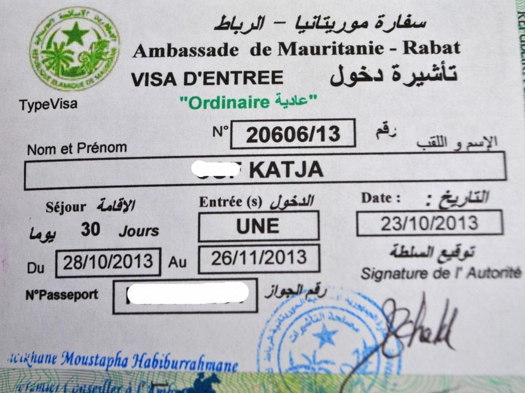 visa mauritania