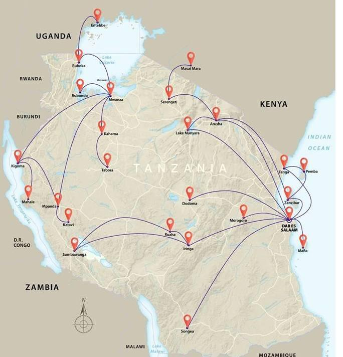 auric air tanzania air travel routes
