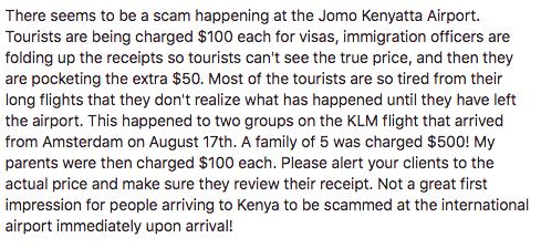 visa kenya scam trips nairobi airport
