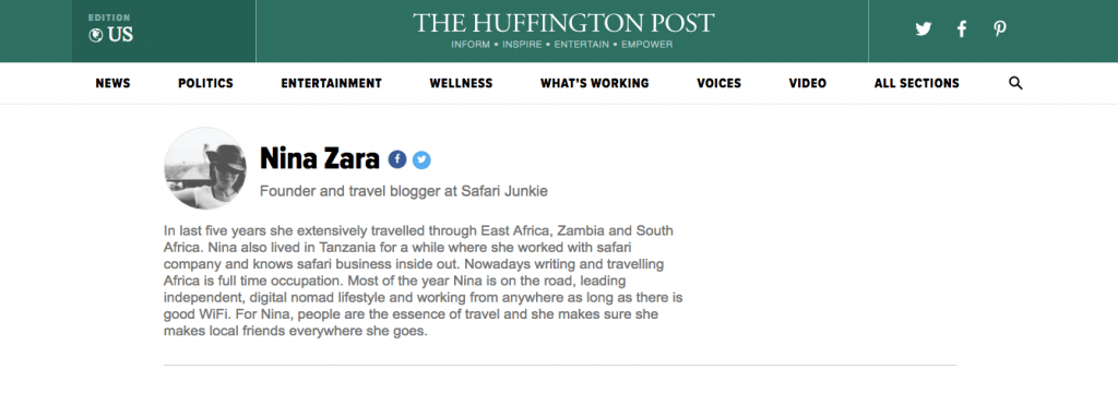 safari junkie Nina zara author huffington post