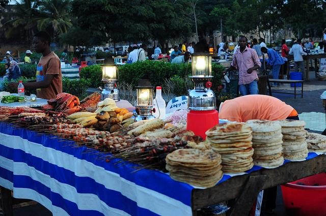 forodhani gardens by night stone town zanzibar food market