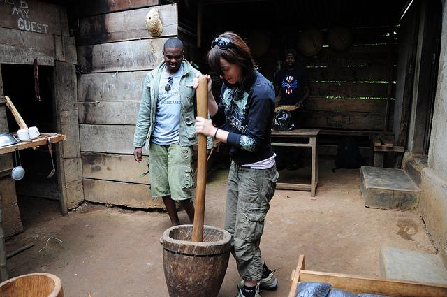 making coffee in Moshi on local plantation